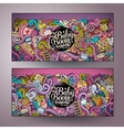 Cartoon doodles baby boom banners vector image