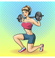 young woman with barbell vector image