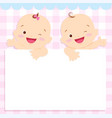 baby boy and girl space frame vector image vector image