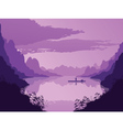 Background of landscape with river and mountains vector image vector image