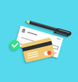 bank check pen and credit card with shadow vector image vector image