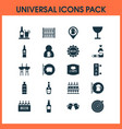 beverages icons set with rum wineglass vector image