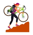 Bicycle travel Woman climbs uphill vector image vector image