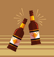 bottles of beers toast icon vector image