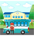 bus driver standing by blue bus vector image vector image