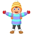 Cartoon a boy in Winter clothes waving hand vector image vector image