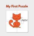 cartoon cat puzzle template for children vector image