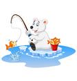 Cartoon polar bear fishing vector image vector image