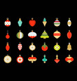 christmas ball ornaments icon set 2 flat design vector image vector image
