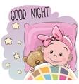 Cute Cartoon Sleeping Baby Girl vector image