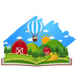 farm scene with barns and balloon in the book vector image vector image