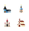 flat icon church set of christian religion vector image vector image