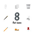 Flat icon equipment set of fastener page clippers vector image