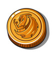 gold coin with image a dragon on isolated vector image
