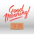 Good Morning Workspace mock up with wooden vector image