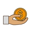 hand human with coin dollar isolated icon vector image vector image