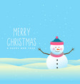 happy snowman merry christmas and winter vector image vector image