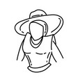 hat biracial icon doodle hand drawn or outline vector image
