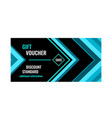 horizontal gift voucher blue lines on black vector image vector image