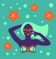hot tan girl in bikini in flat pop art style vector image vector image