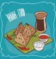 indian snack samosa with sauce and masala chai tea vector image vector image