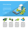 isometric money flow in bank icons landing vector image vector image