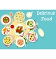 Italian and french cuisine lunch dishes icon vector image vector image