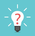 lightbulb with question mark vector image vector image