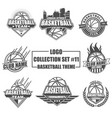 logo collection set with basketball theme vector image vector image