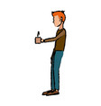 man character standing holding coffee cup break vector image vector image