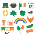 March 17 Saint Patricks Day elements set vector image