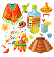 mexico icons traditional vector image vector image