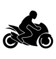 motorcycle rider on a sport bike silhouette vector image vector image