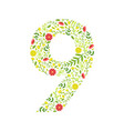 number 9 green floral made leaves vector image vector image