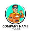 orange superhero cartoon logo vector image vector image