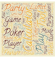 Overview of party poker calculator text background vector image vector image