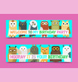 owl banner and pattern vector image