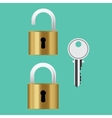 padlock lock with key isolated vector image vector image