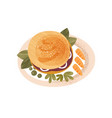 plate with big appetizing burger decorated with vector image