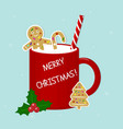 red cup with milk ginger biscuit tubule and vector image