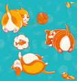 seamless pattern with cute cartoon kittiess vector image vector image
