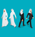 set of businessman arab man on white background vector image vector image