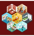 Shopping Mall Hexagonal Pattern Isometric vector image vector image