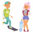 skateboard characters stylish skating kids vector image vector image