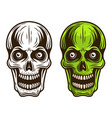 skull set two styles monochrome and colored vector image vector image