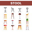 stool sitting furniture linear icons set vector image vector image