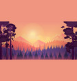 sunset landscape with mountain and forest vector image vector image