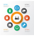 technology icons set with computer flash drive vector image