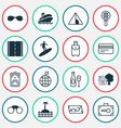 tourism icons set with safe luggage backpack vector image vector image