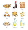 vegan menu soy food cooking ingredient isolated vector image